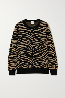 Madeleine Thompson Juno Metallic Tiger-intarsia Wool And Cashmere-blend Sweater - Black