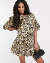 Asos Design DESIGN mini shirt dress with puff sleeves in leopard print