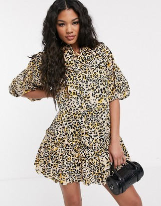 Asos DESIGN mini shirt dress with puff sleeves in leopard print