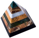 "Novica Hand Crafted Multicolor Natural Gemstone Geometric Positive Energy Spiritual Healing Pyramid Sculpture, 3"", 'Be Positive'"