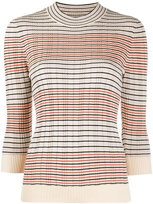 Chinti and Parker Striped 3/4 Sleeves Pullover