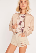 Missguided High Waisted Ripped Denim Shorts Aged White