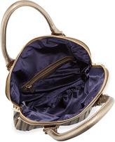 Neiman Marcus Metallic Faux-Leather Woven Foldover Tote, Bronze