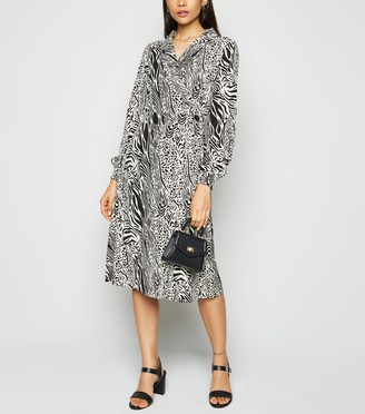 New Look Blue Vanilla Mixed Animal Print Wrap Dress