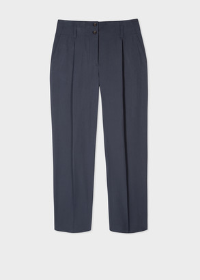 Paul Smith Women's Dark Navy Pleated Cotton Pants