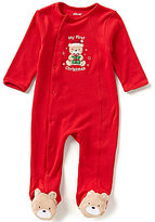 Little Me Newborn-9 Months My First Christmas Bear-Applique Footed Coverall