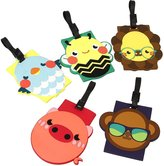 Bundle Monster 5 pc Silicone Mixed Design Travel Luggage Bag ID Tags