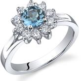 Ice 1/2 CT TW London Blue Topaz Sterling Silver Fashion Ring with CZ Accents