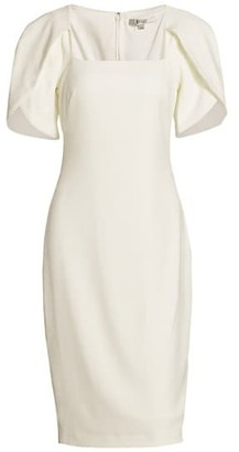 Badgley Mischka Tulip-Sleeve Cocktail Dress