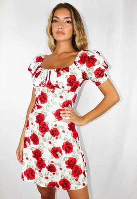 Missguided Rose Print Milkmaid Mini Dress