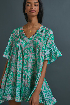 Daisy Beaded Cover-Up Tunic Dress By Duet in Blue Size L