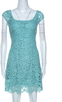 Dolce & Gabbana Mint Green Lace Scalloped Hem Dress M