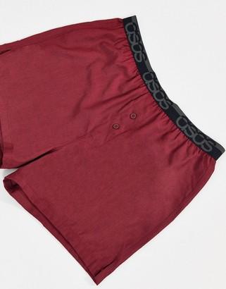 ASOS DESIGN woven satin boxer short in rust