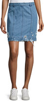 Public School Distressed Stretch Denim Skirt, Indigo