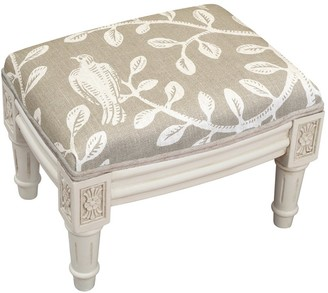 Copper Grove Castletown Taupe Upholstered White Footstool with Vine Accents