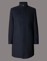 Autograph Tailored Fit Funnel Neck Coat With Wool