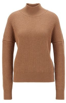 HUGO BOSS Oversized Fit Mock Neck Sweater In Virgin Wool - Light Brown