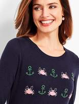 Talbots Seashore Embroidered Crewneck Sweater