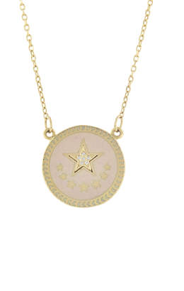 Foundrae Petite Strength Blush Champleve Stationary Necklace - Yellow Gold
