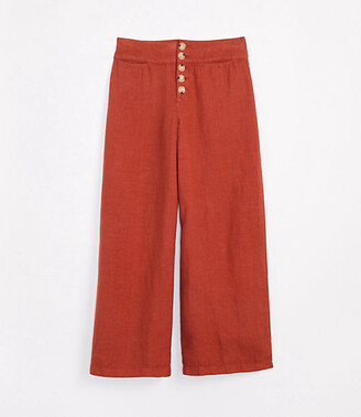Lou & Grey High Rise Button Front Wide Leg Linen Pants