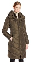 Jessica Simpson Women's Long Chevron-Quilted Down Coat with Hood