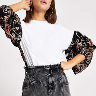 River Island White block printed puff sleeve T-shirt
