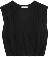 Alice + Olivia Dania Wrap-effect Crepe Top - Black