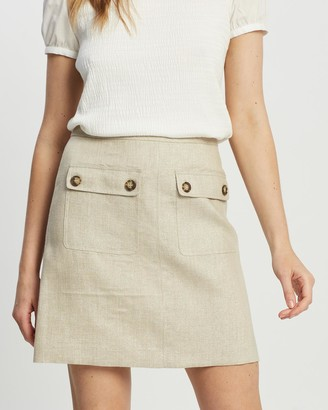 Marcs - Women's Nude Skirts - Afterglow Linen Skirt - Size One Size, 8 at The Iconic