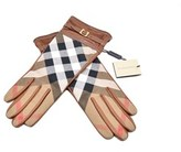 Burberry Womens Brown Lambskin House Bridle Check Gloves.