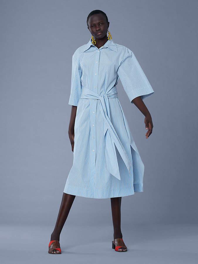 Diane von Furstenberg Sleeve Cotton Belted Shirtdress