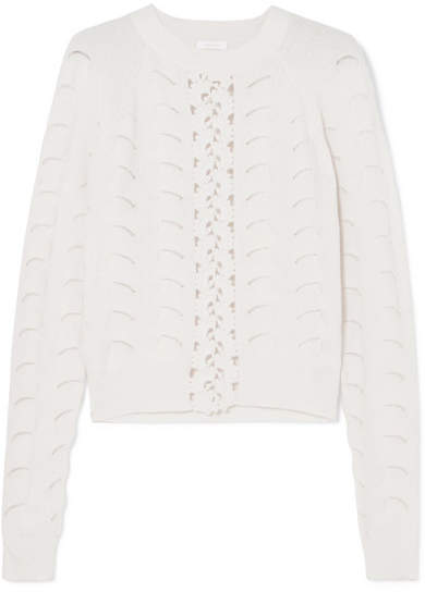 See by Chloe Crochet And Pointelle-knit Sweater - White