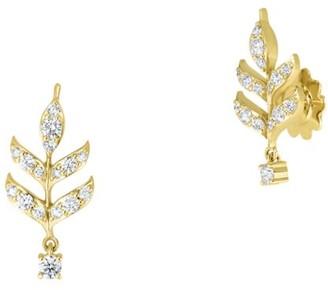 Roberto Coin Disney's Frozen 2 x 18K Yellow Gold & Diamond Wheat Sheaf Stud Drop Earrings
