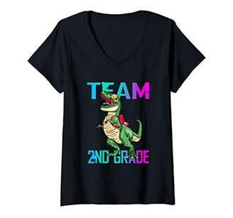 Womens Team 2nd Grade T Rex Dinosaur Back To School Boys V-Neck T-Shirt