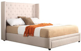 Ivory Button Tufted Wing Queen Size Bed Frame with Drawer