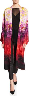 Fuzzi Long Gradient-Print Satin Kimono