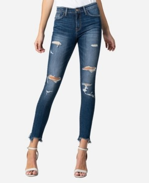 Flying Monkey Mid Rise Slashed Raw Hem Skinny Ankle Jeans