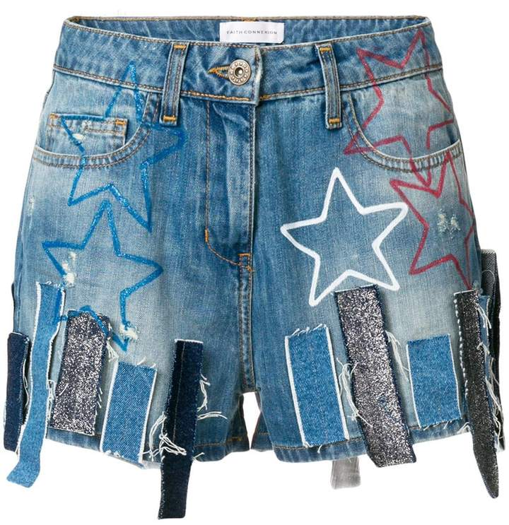 Faith Connexion patchwork denim shorts