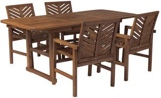 Hewson 5Pc Outdoor Patio Acacia Wood Dining Set