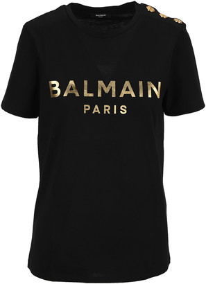 Balmain Black Cotton T-shirt With Bronze Logo Print