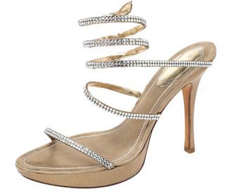 Rene Caovilla Metallic Gold Crystal Embellished Ankle Wrap Sandals Size 38