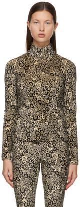 Rosetta Getty Brown Velvet Printed Turtleneck