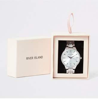 River Island Diamante Edge Bracelet Watch - Silver