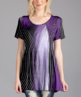 Lily Black Purple Scoop Neck Tunic - Plus Too