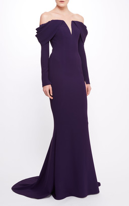 Pamella Roland Stretch Crepe Off The Shoulder Gown With Beaded Shoulde