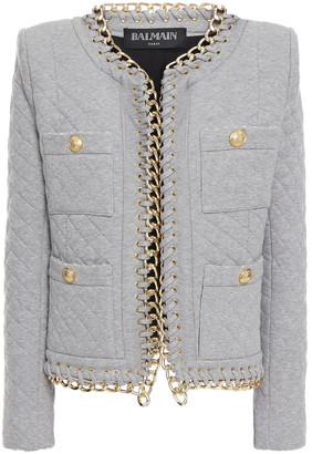 Balmain Chain-trimmed Quilted Cotton-jersey Jacket