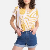 See U Soon Printed V-Neck Blouse with Short Sleeves