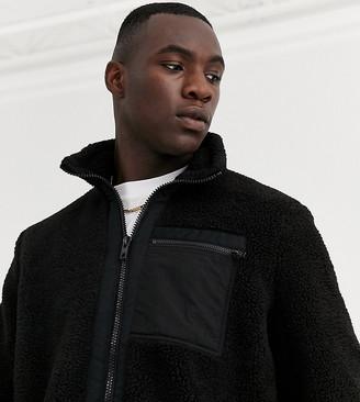 ASOS DESIGN Tall teddy jacket in black with nylon pockets