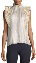 Rebecca Taylor Sleeveless Plaid Pleated Top