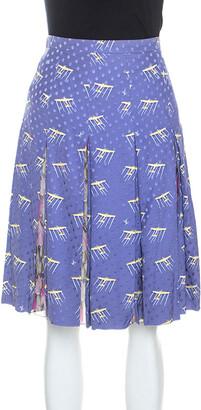 Louis Vuitton Purple Printed Polka Dot Silk Pleated Skirt M