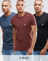 Asos 3 Pack Muscle T-shirt With Logo In Black/blue/chestnutsave